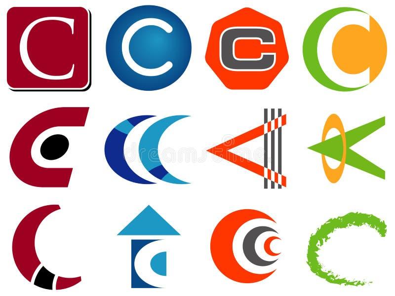 иконы c помечают буквами логос иллюстрация вектора