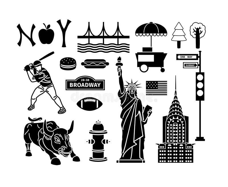 Иконы New York иллюстрация вектора
