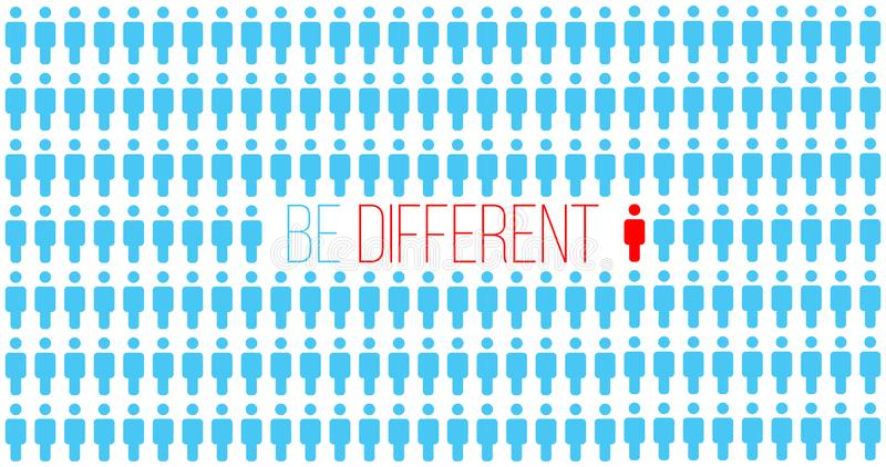 Или думайте различное Был различный в толпе, движении для успеха концепция индивидуальности успешная персона уникально Бизнес иллюстрация штока
