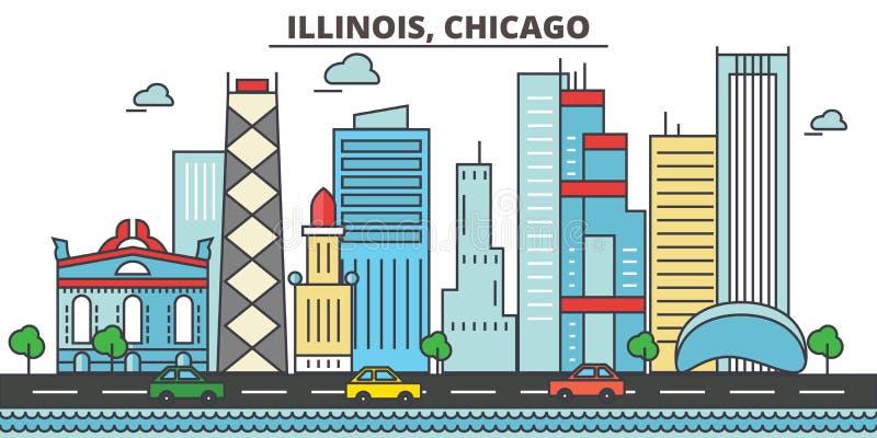 Иллинойс, Чикаго вектор горизонта конструкции города предпосылки ваш бесплатная иллюстрация