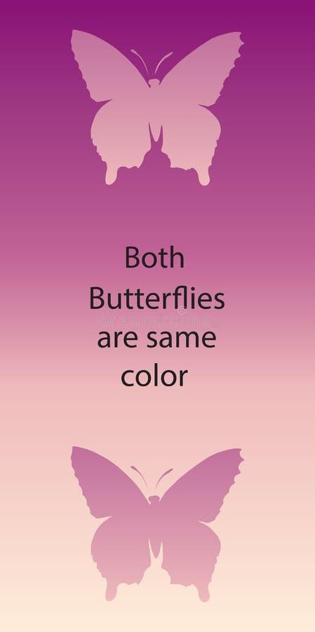 иллюзион оптически Обе бабочки такой же цвет иллюстрация вектора