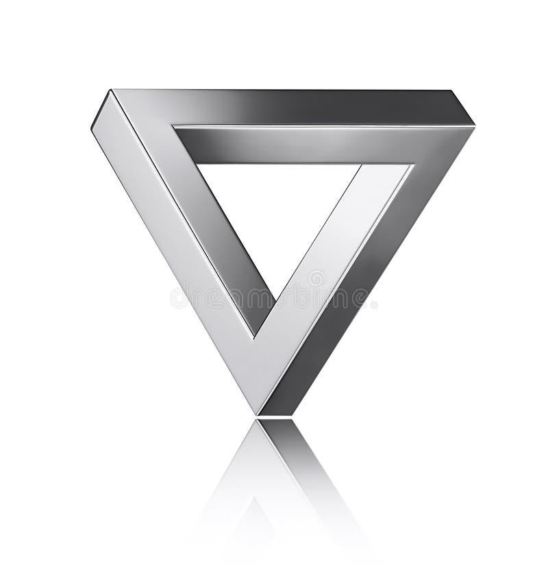 иллюзион оптически Серебряный треугольник penrose изолированный на белизне бесплатная иллюстрация