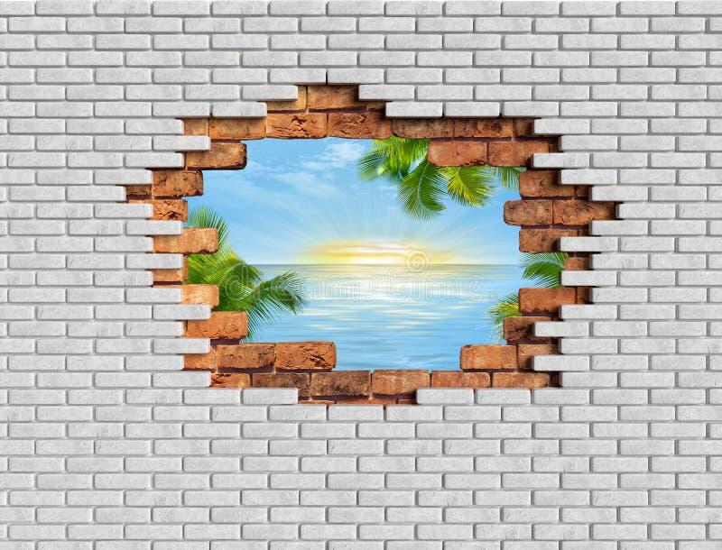 иллюзия кирпичей стены отверстия 3D с переводом ландшафта 3D моря иллюстрация вектора