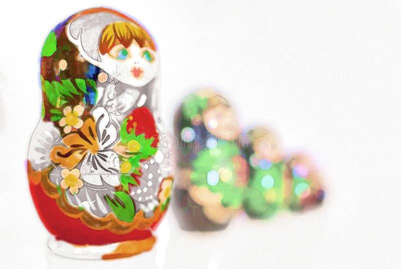 Иллюстратор кукол Matryoshka стоковые фотографии rf