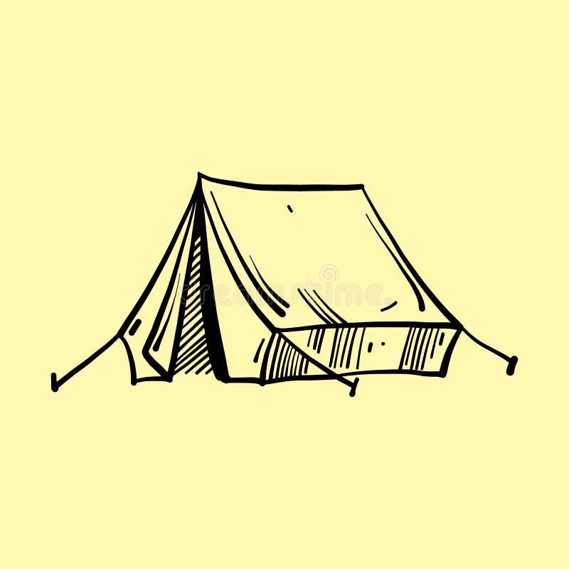 Иллюстрации вектора располагаясь лагерем шатра руки вычерченные Изолировано на желтой предпосылке иллюстрация вектора