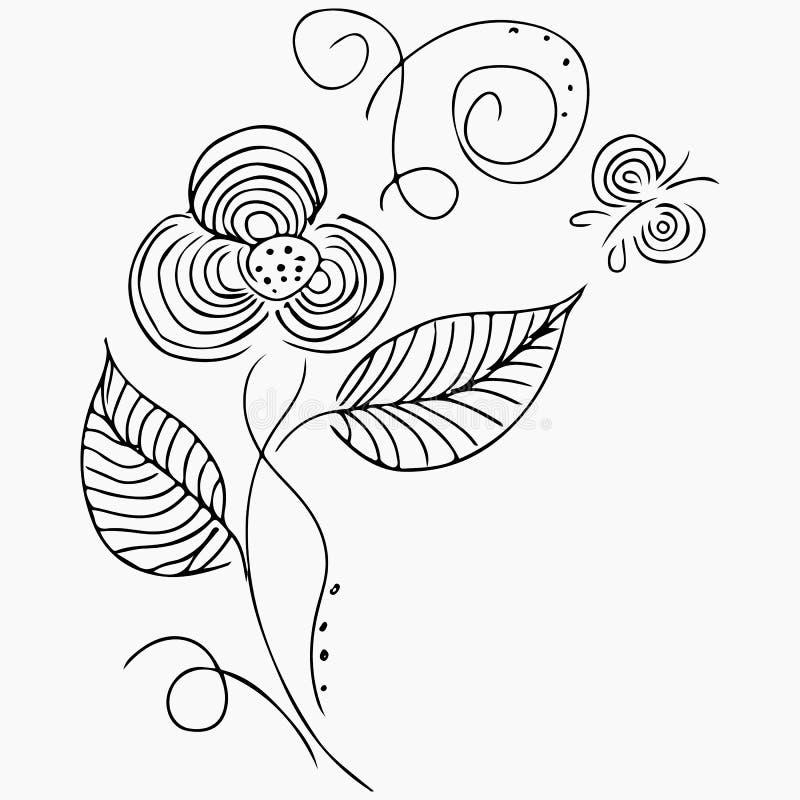Иллюстрации вектора руки вычерченные абстрактного набора цветков и бабочек изолированных на сером цвете Элементы флористического  иллюстрация вектора
