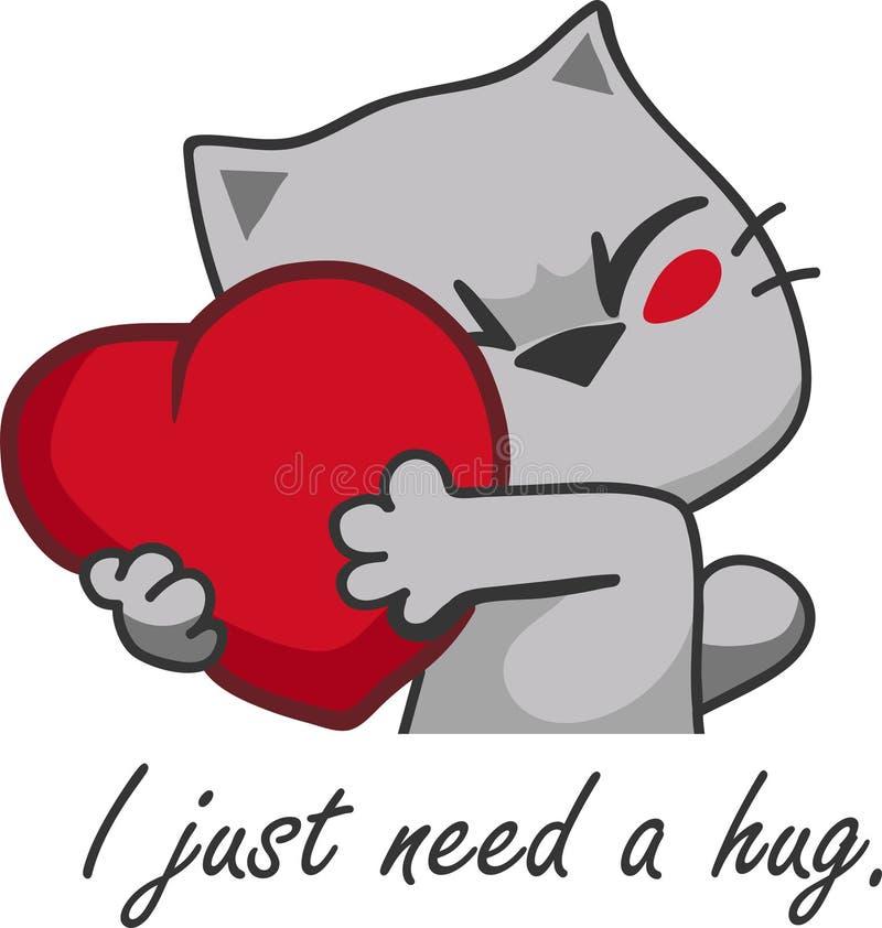 Иллюстрации вектора с котенком которое обнимает сердце я как раз нужно объятие бесплатная иллюстрация