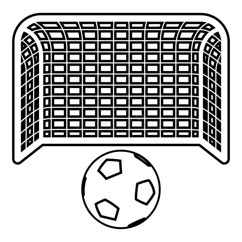 Иллюстрации вектора цвета черноты плана значка стойки ворот футбола устремленности цели концепции штрафа футбольного мяча и ворот иллюстрация штока