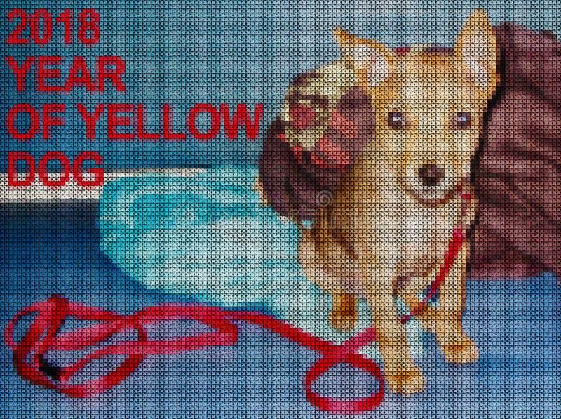 иллюстрации Вышивка крестиком Желтая собака иллюстрация штока