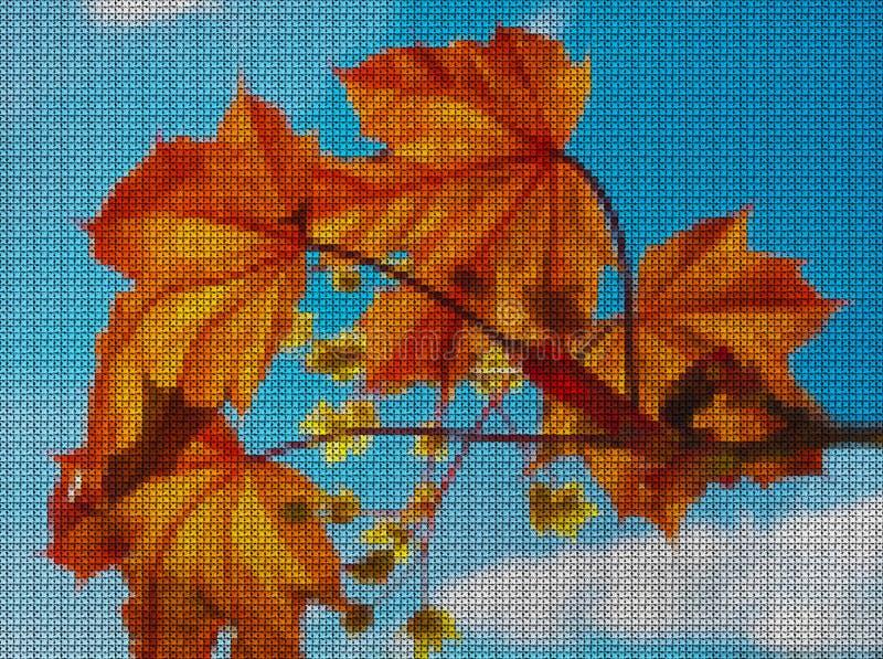 Иллюстрации Вышивка крестиком Кленовые листы иллюстрация штока