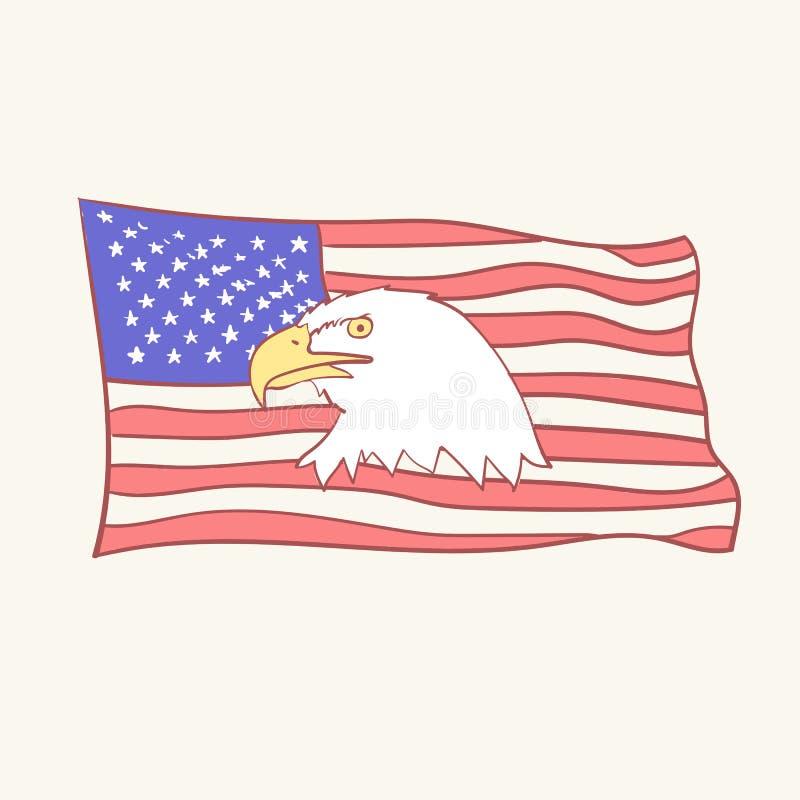Иллюстрации дизайна doodle стиля значка вектора талисмана орла флага США облыселой американской нарисованные рукой иллюстрация вектора