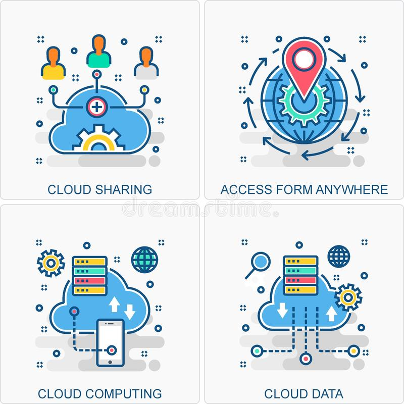Иллюстрации значков и концепций облака вычисляя бесплатная иллюстрация