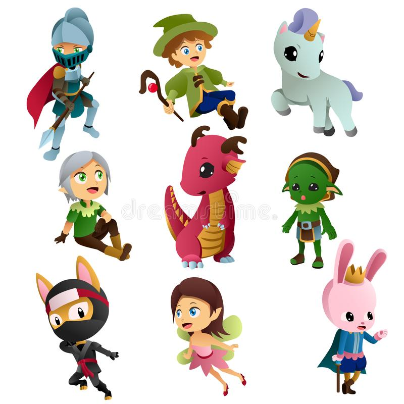 Иллюстрации значков характеров фантазии бесплатная иллюстрация
