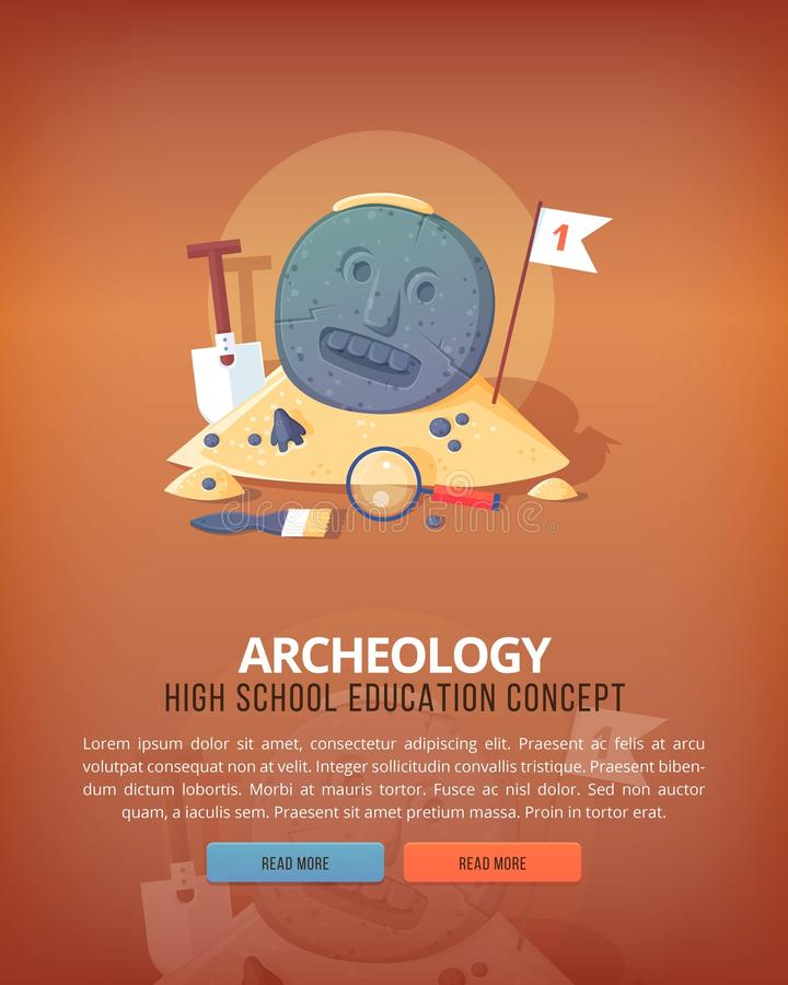 Иллюстрации концепции образования и науки Наука археологии жизни и начало вида Плоское знамя дизайна вектора иллюстрация вектора