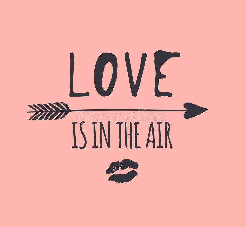 Иллюстрации моды руки стрелка вычерченной романтичная, поцелуй губ и цитата Творческое произведение искусства чернил Фактический  иллюстрация вектора