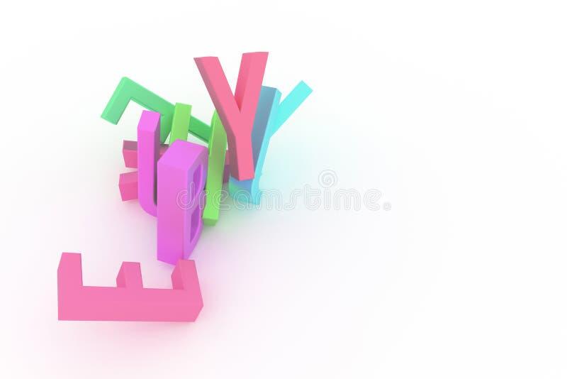 Иллюстрации оформления CGI, алфавитного знака, письма ABC для графического дизайна или обоев иллюстрация вектора
