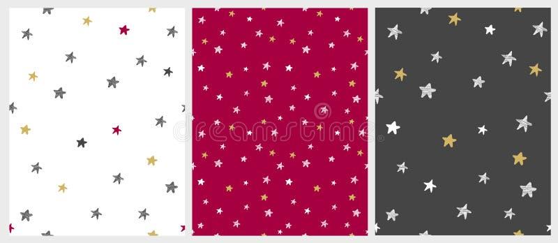 Иллюстрации рождества чувствительные Установите 3 картин вектора звезды Varius иллюстрация штока