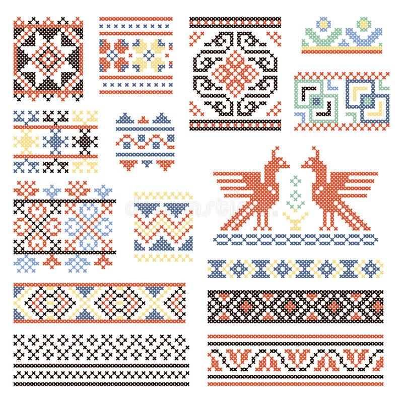 Иллюстрации традиционной русской культуры Геометрический орнамент в этническом стиле иллюстрация штока