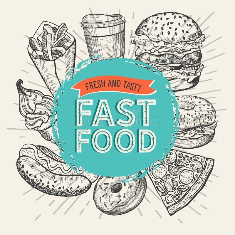 Иллюстрации фаст-фуда, бургер, пицца, донут для ресторана бесплатная иллюстрация