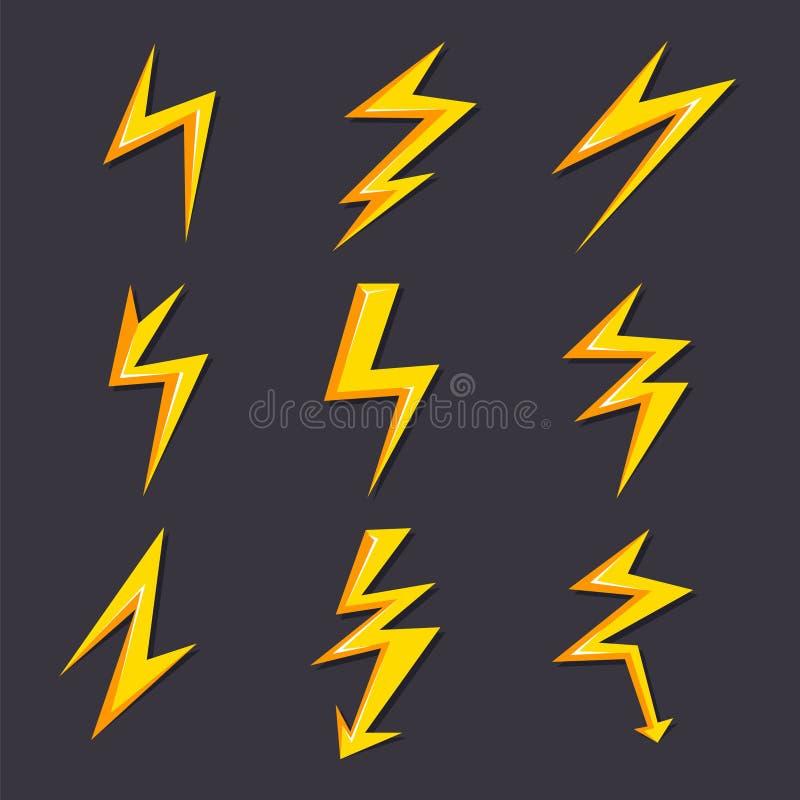 Иллюстрации шаржа вектора изолята комплекта молнии Стилизованные изображения для дизайна логотипа иллюстрация штока