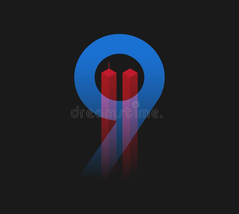 9/11 иллюстраций вектора Плакат дня патриота США 11-ое сентября a иллюстрация штока