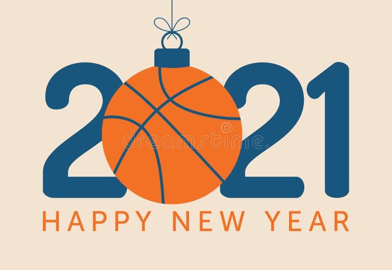 2021 Иллюстраций вектор С Новым Годом! Плоская поздравительная открытка  спорта стиле с мячом, баскетбол на фоне Вектор Иллюстрация вектора -  иллюстрации насчитывающей фоне, стиле: 199575379