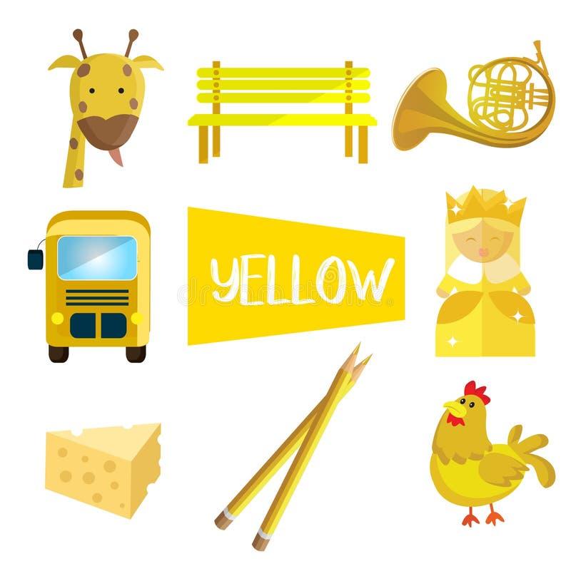 8 иллюстраций в желтом цвете иллюстрация штока