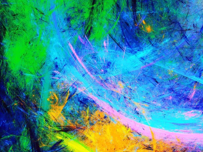 Иллюстрация абстрактного фрактального фона радуги 3d стоковая фотография