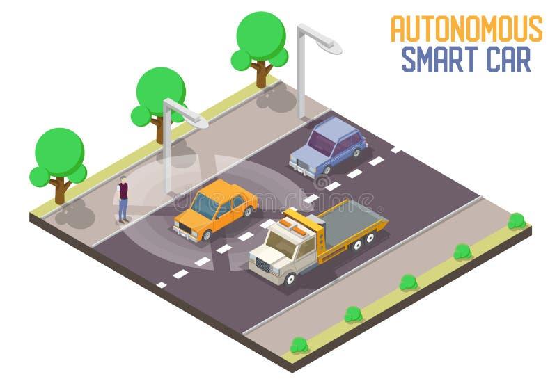 Иллюстрация автономного умного вектора автомобиля равновеликая иллюстрация штока