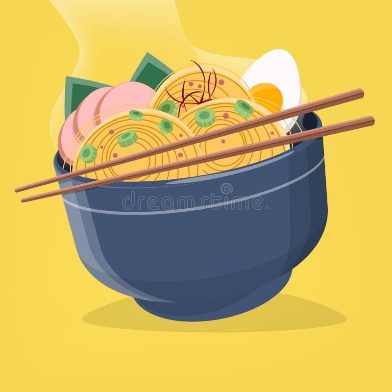 Иллюстрация азиатских лапш рамэнов иллюстрация вектора