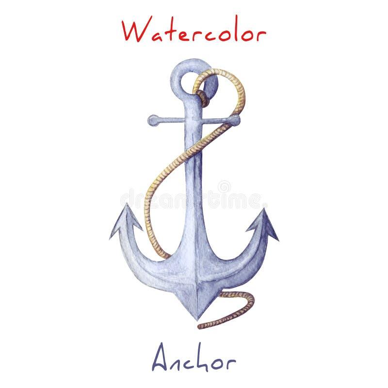 Иллюстрация акварели анкера голубой анкер с веревочкой Анкер акварели изолированный на белом фоне бесплатная иллюстрация