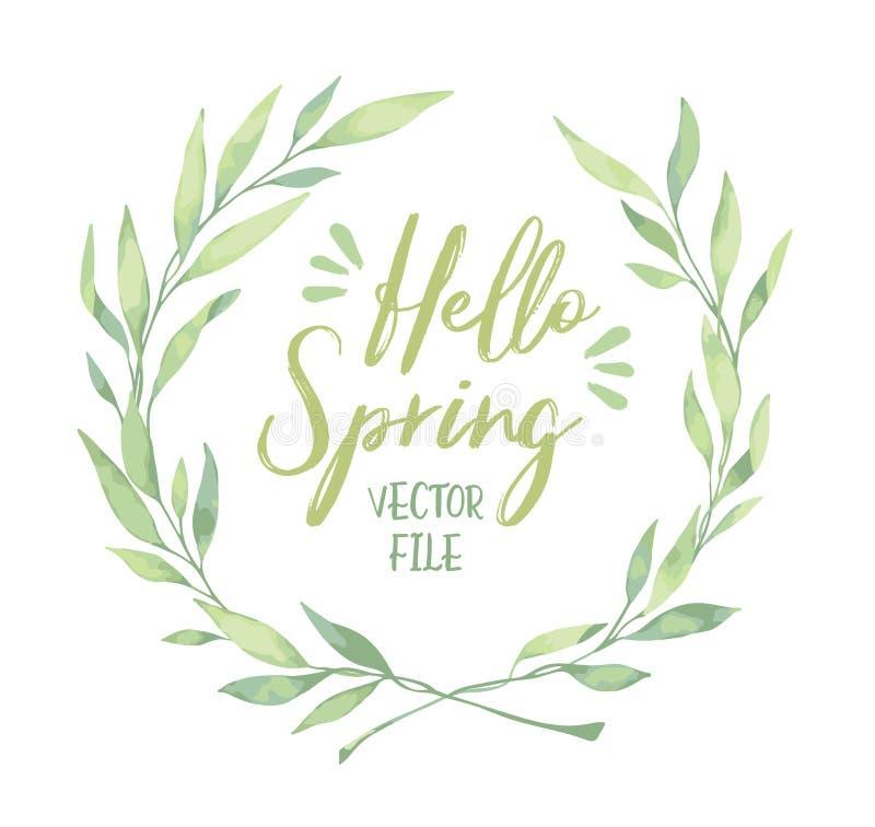 Иллюстрация акварели вектора Здравствуйте! весна! Лавровый венок flo бесплатная иллюстрация