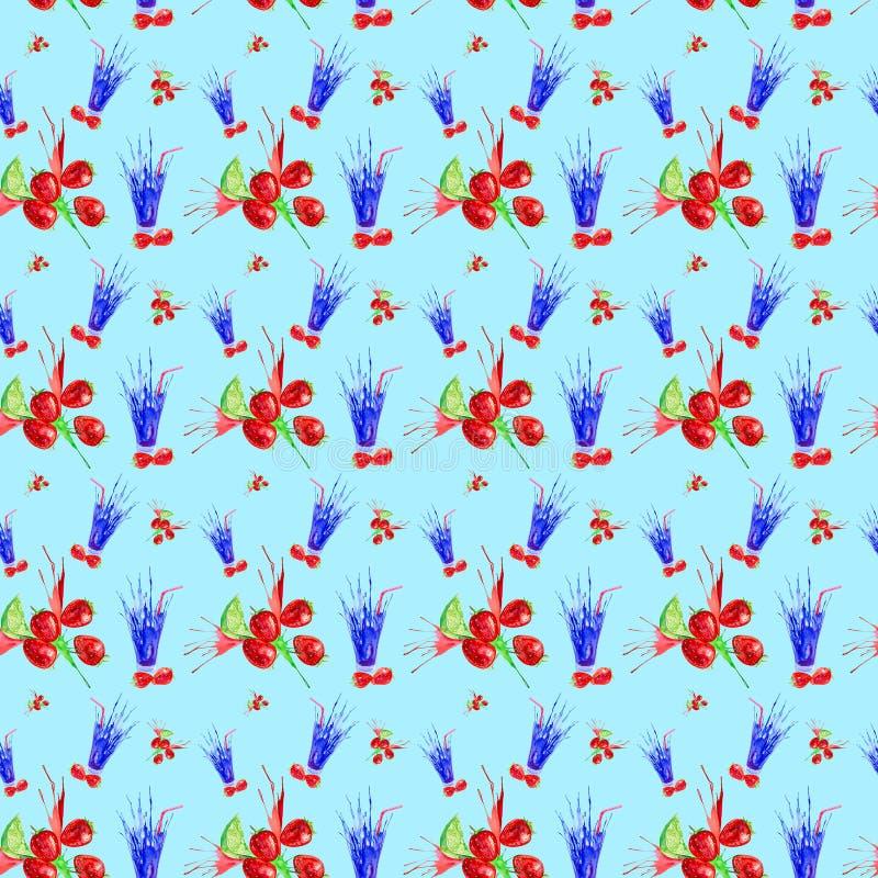 Иллюстрация акварели выплеска клубники, известки и сока в стекле Изолировано на голубой предпосылке картина безшовная иллюстрация штока