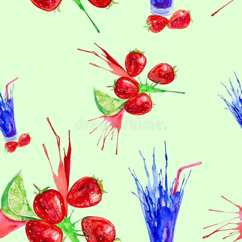 Иллюстрация акварели выплеска клубники, известки и сока в стекле Изолировано на зеленой предпосылке картина безшовная бесплатная иллюстрация