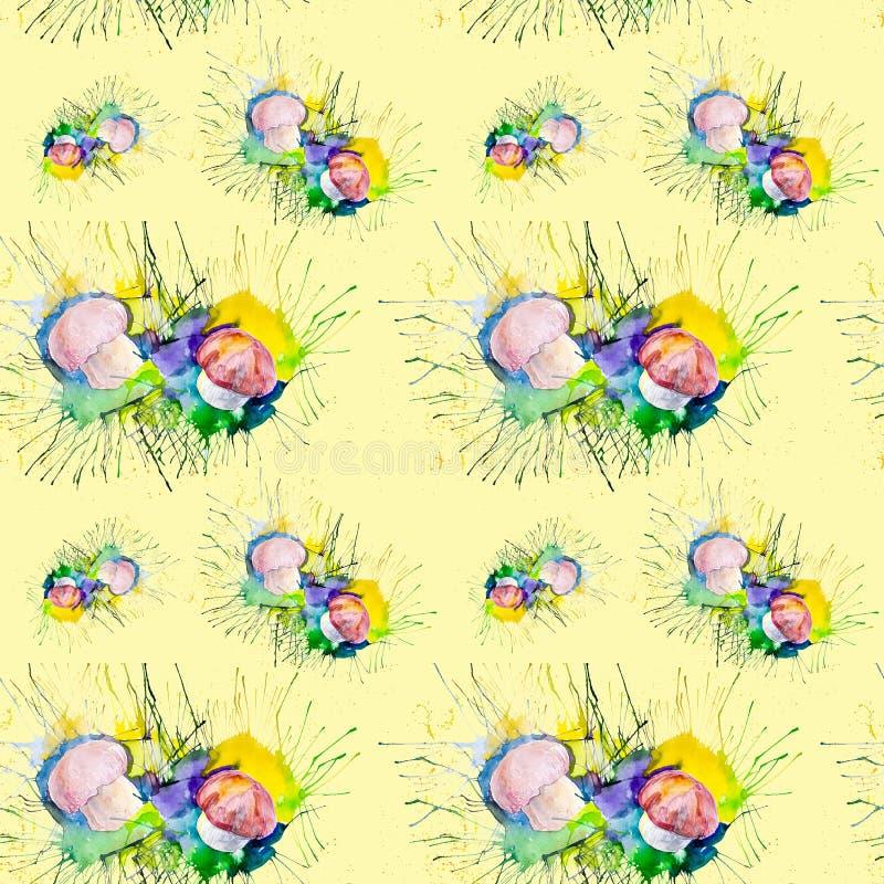 Иллюстрация акварели грибов на мхе в лесе Изолировано на желтой предпосылке картина безшовная иллюстрация вектора