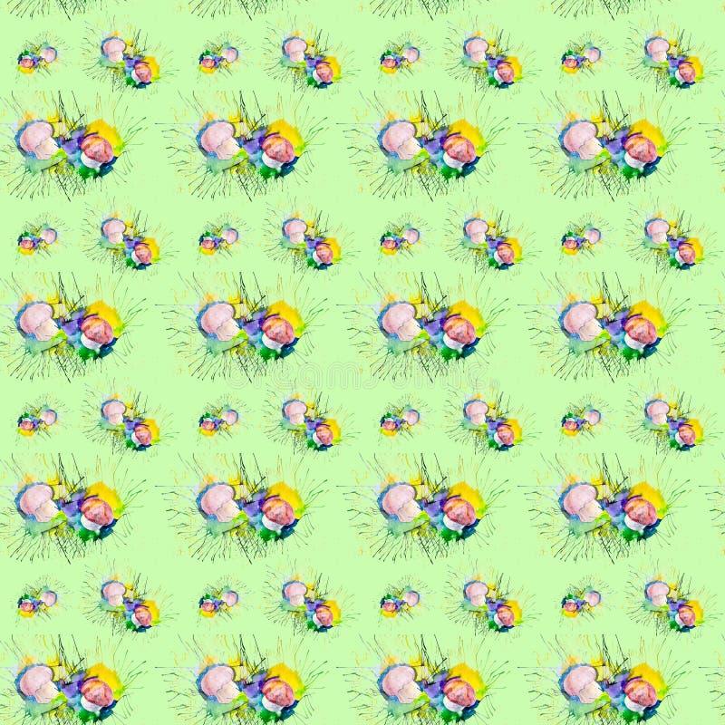 Иллюстрация акварели грибов на мхе в лесе Изолировано на зеленой предпосылке картина безшовная иллюстрация штока