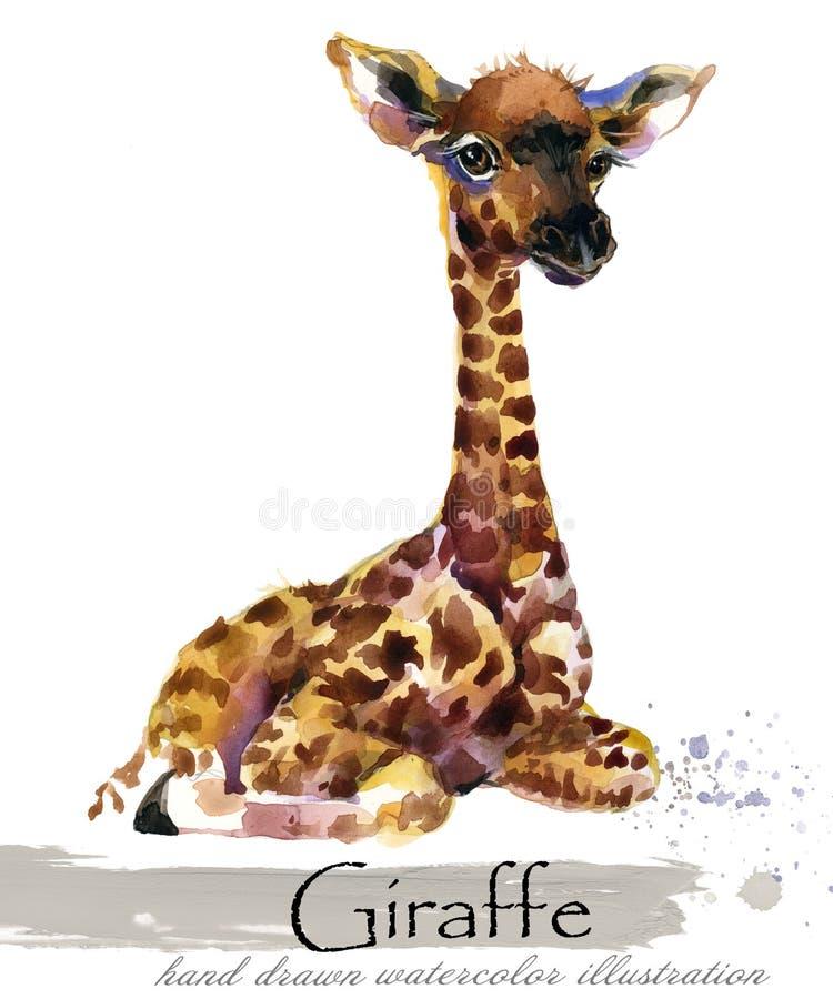 Иллюстрация акварели жирафа нарисованная рукой иллюстрация вектора