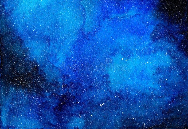 Иллюстрация акварели звездной ночи небесно-голубая иллюстрация вектора