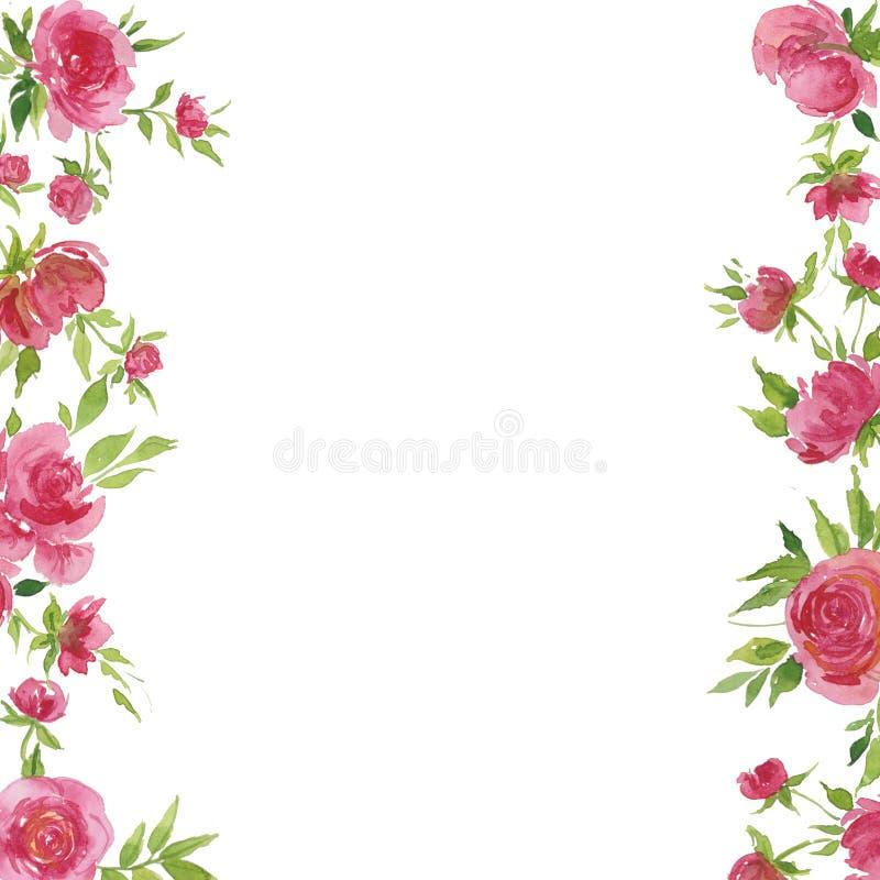 Иллюстрация акварели, красных роз и листьев, для открыток, поздравления, приглашения бесплатная иллюстрация