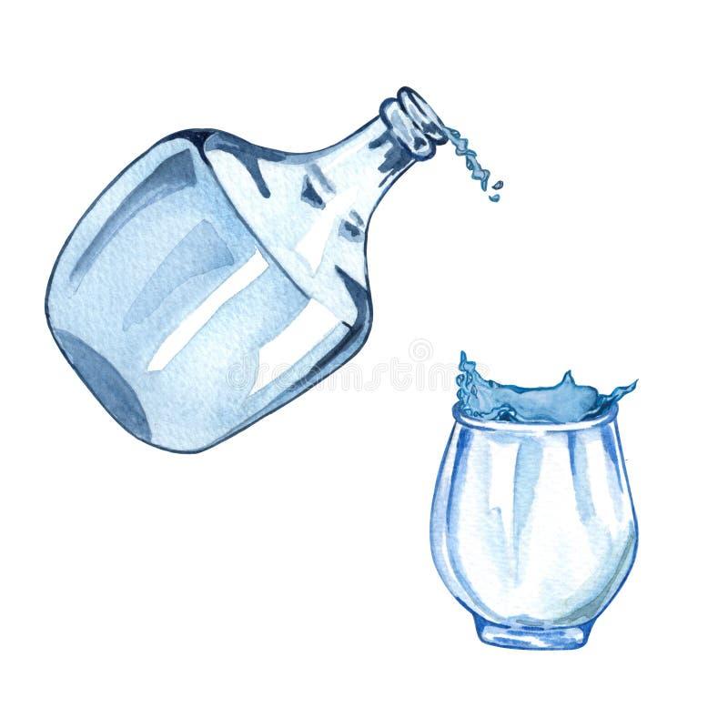 Иллюстрация акварели лить воды в чашку от стеклянной бутылки с выплеском воды бесплатная иллюстрация