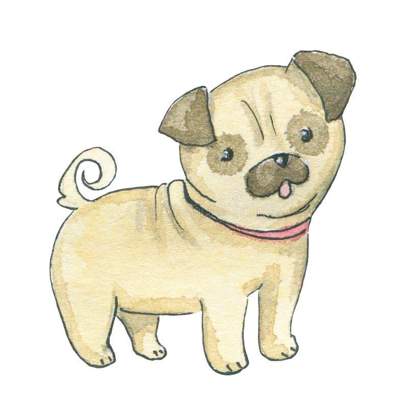 Иллюстрация акварели мопс-собаки иллюстрация штока