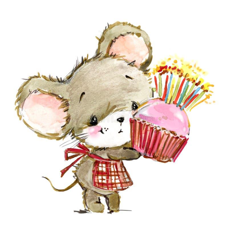 Иллюстрация акварели мыши мультфильма Милые мыши иллюстрация вектора