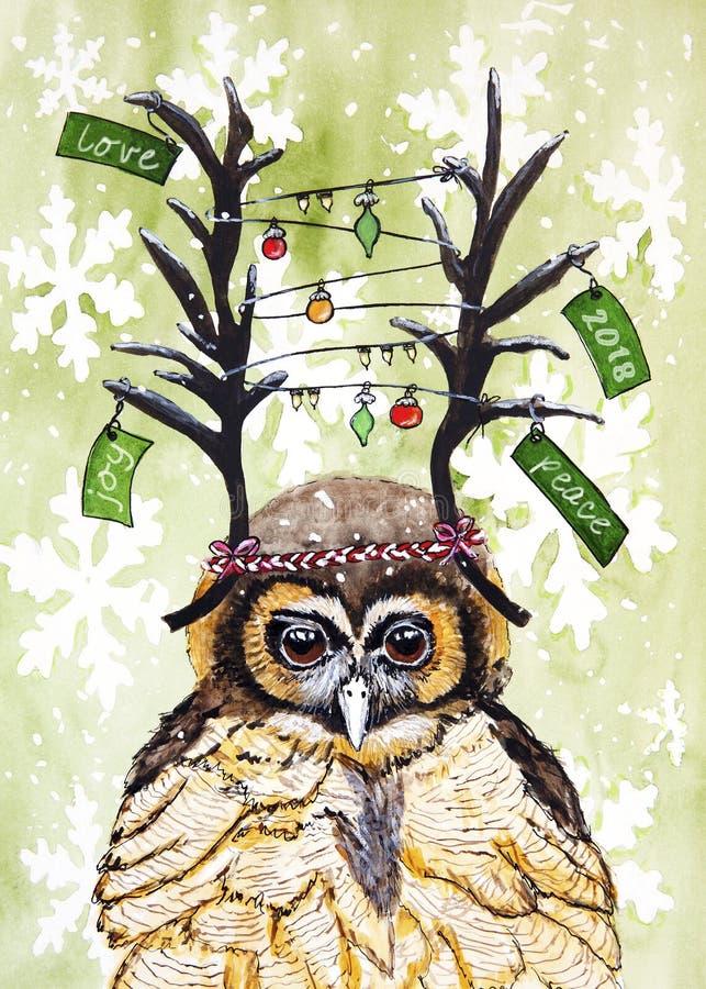 Иллюстрация акварели на рождество и Новый Год 2018 с сычом стоковое изображение rf
