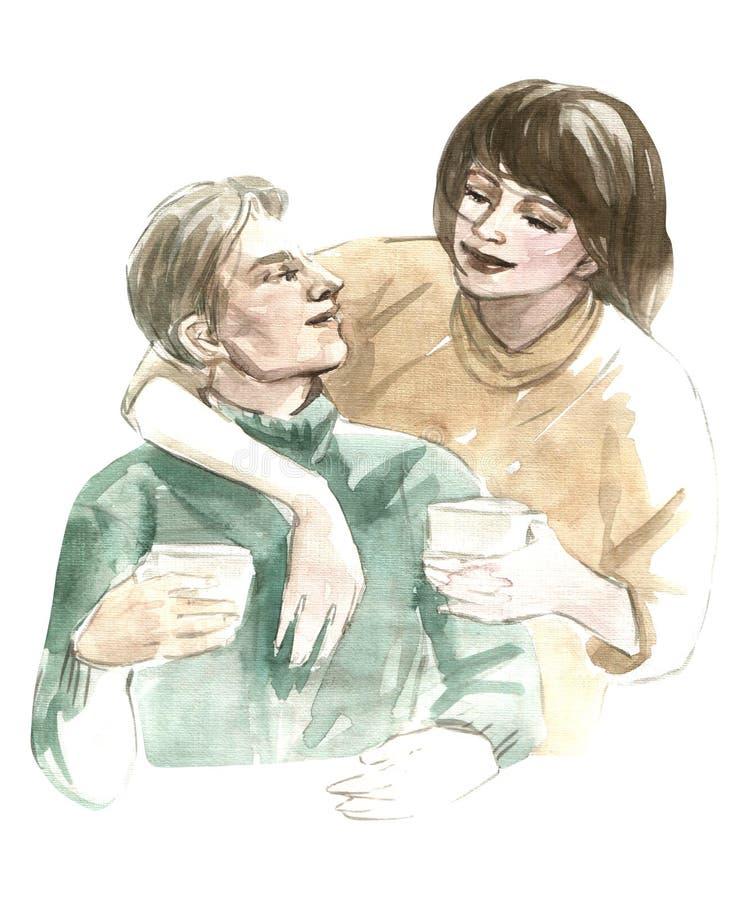 Иллюстрация акварели пары любовников обнимая держащ кофе в чашках изолированных на белой предпосылке иллюстрация вектора