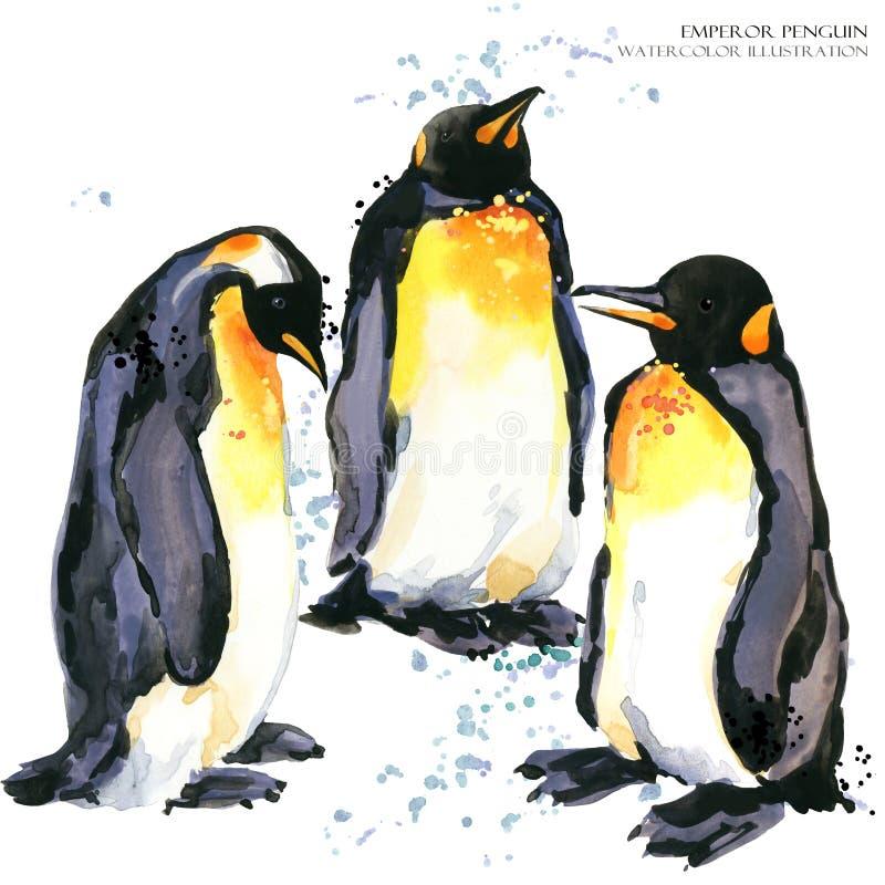 Иллюстрация акварели пингвина императора установленная иллюстрация штока