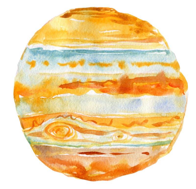 Иллюстрация акварели планеты Юпитера, изолированного объекта на белой предпосылке иллюстрация штока