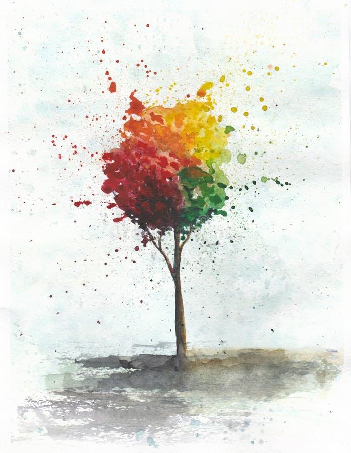Иллюстрация акварели покрашенного дерева иллюстрация штока