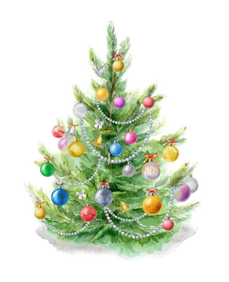 Иллюстрация акварели: Рождественская елка украшенная с шариками на белой предпосылке Шаблон для дизайна плакатов стоковое фото