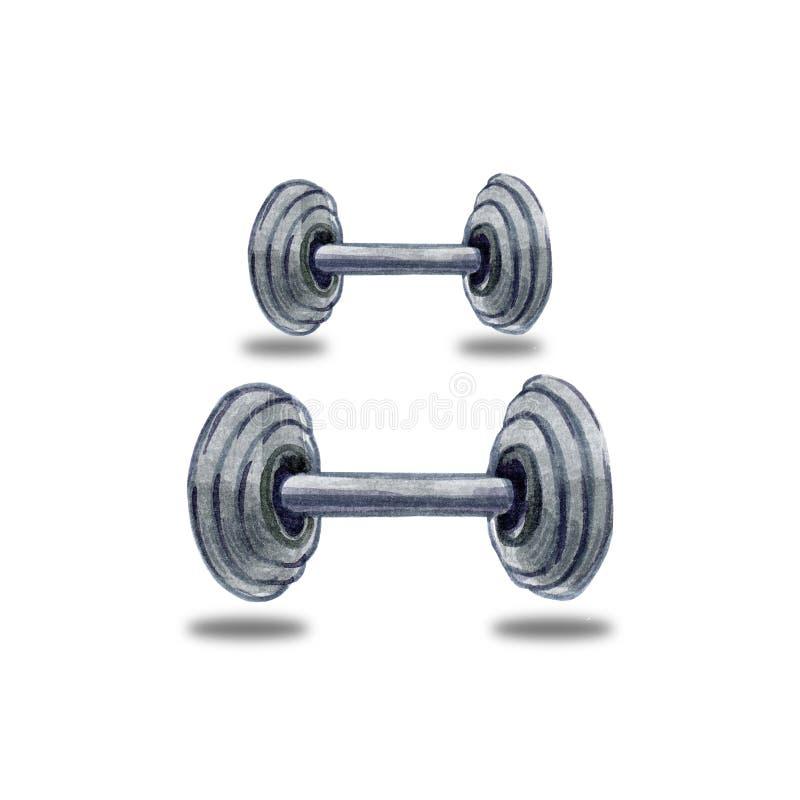 Иллюстрация акварели руки вычерченная гантелей спорта фитнеса серых для гимнастики на белой предпосылке стоковое изображение