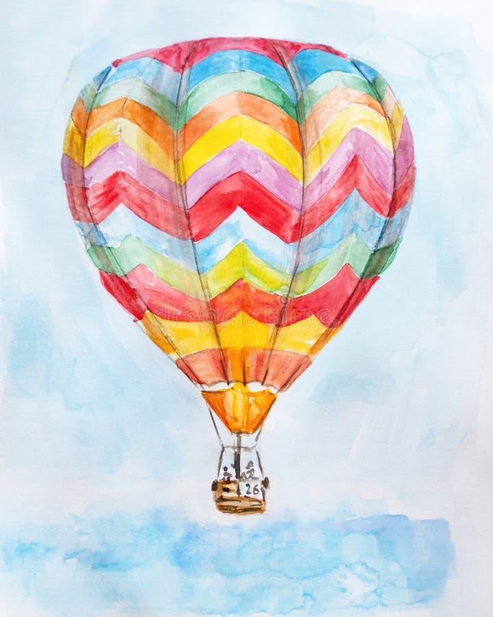 Иллюстрация акварели руки вычерченная горячего воздушного шара в голубом небе иллюстрация штока